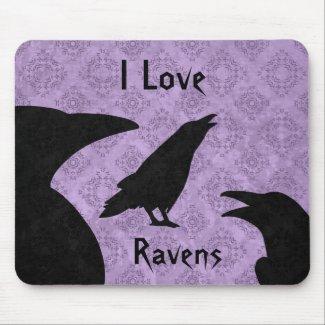 Gothic I Love ravens Mousepad