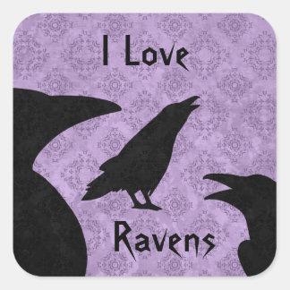 Gothic I Love ravens Square Sticker