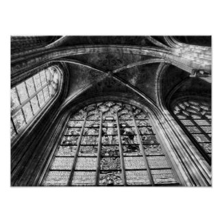 Gothic interior of church posters