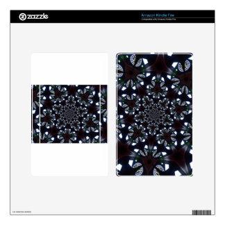 Gothic kaleidoscopic blue black diamond geometric decal for kindle fire