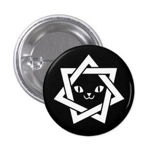 Gothic Kawaii Cat Face Star 1 Inch Round Button