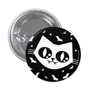 Gothic Kawaii Kitty Cat And Vampire Bats Buttons