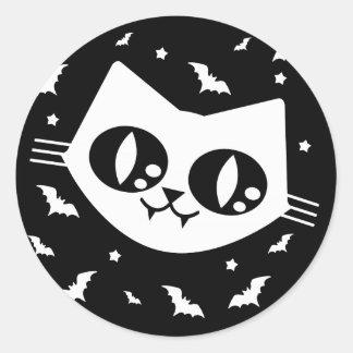 Gothic Kawaii Kitty Cat And Vampire Bats Classic Round Sticker