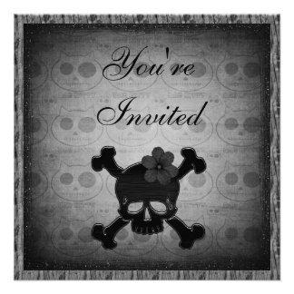 Gothic Kitty Black Skulls Party Invites