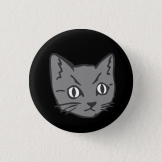 Gothic Kitty Cat Face Button