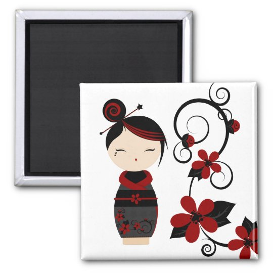 Gothic Kokeshi and Flowers Magnet