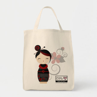 Gothic Kokeshi Grocery Tote Tote Bag