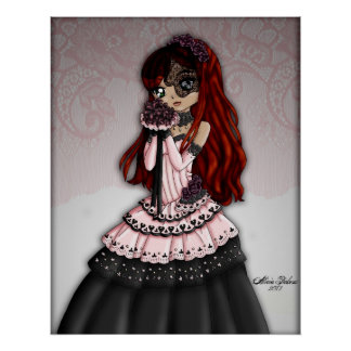 Gothic Lace Bride - Redhead Posters