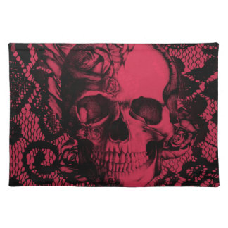 Gothic lace skull in deep red. cloth placemat