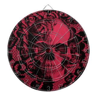 Gothic lace skull in deep red. dart board