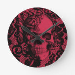 Gothic lace skull in deep red. wall clock