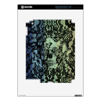 Gothic lace skull in navy, green and yellow iPad 2 decal