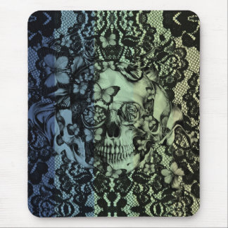 Gothic lace skull in navy, green and yellow mouse pad