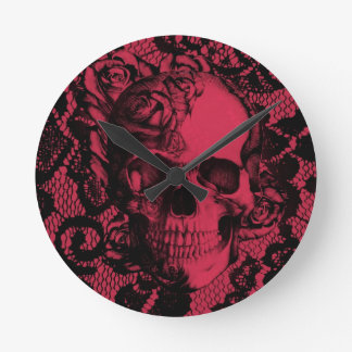 Gothic lace skull in red and black clock