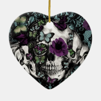 Gothic lace skull in teal and purple ceramic ornament