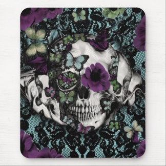 Gothic lace skull in teal and purple mouse pad