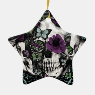 Gothic lace skull in teal and purple ornament
