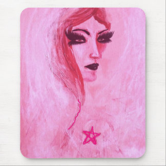 Gothic lady with pentagram mouse pad