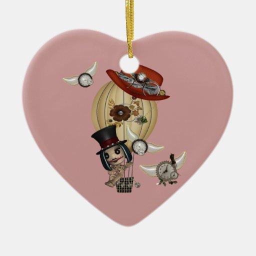 gothic laveau hot air balloon steampunk art Double-Sided heart ceramic christmas ornament