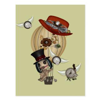 gothic laveau hot air balloon steampunk art postcard