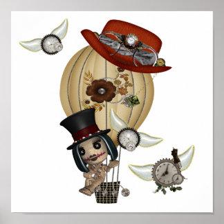 gothic laveau hot air balloon steampunk art poster