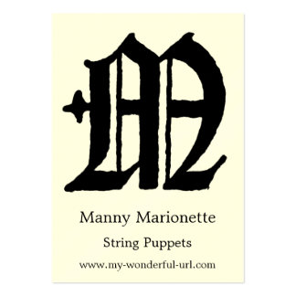 "Gothic Letter ""M"" Classic English Initial Business Cards"
