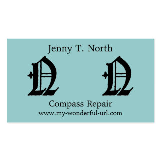 """Gothic Letter """"N"""" Classic English Initial Double-Sided Standard Business Cards (Pack Of 100)"""