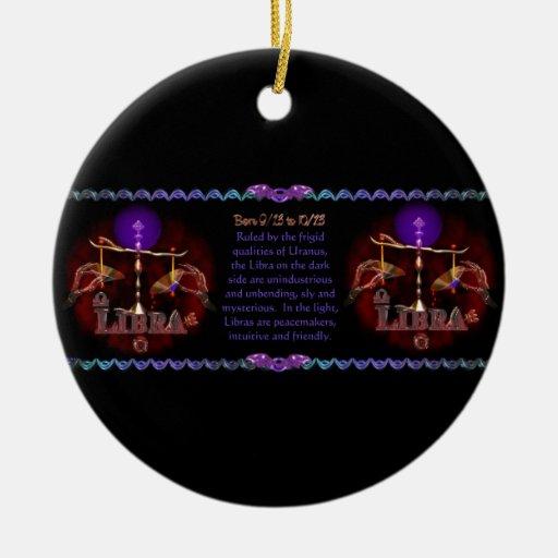 Gothic Libra zodiac astrology by Valxart.com Double-Sided Ceramic Round Christmas Ornament