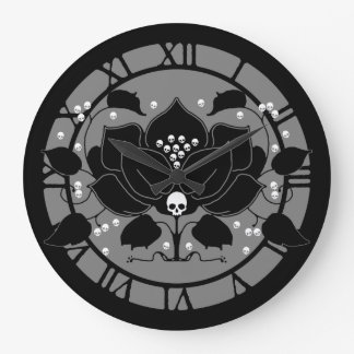 Gothic Lily With Skulls Wall Clocks