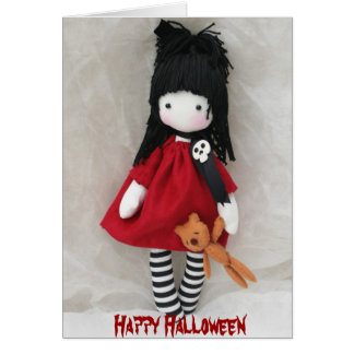 Gothic Little Girl Happy Halloween Greeting Card