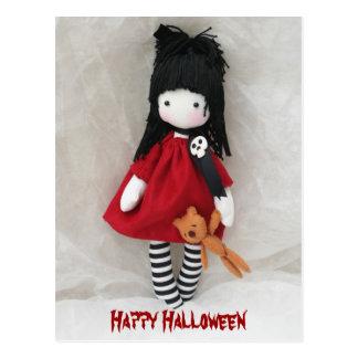 Gothic Little Girl Happy Halloween Postcard