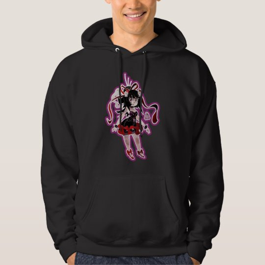 Gothic Lolita Girl Magenta Outline Hoodie