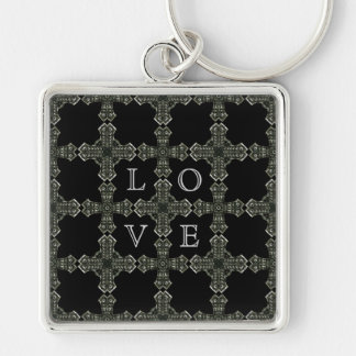 Gothic medieval cross pattern Silver-Colored square keychain