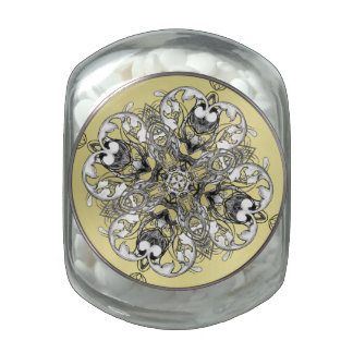 Gothic Medieval Flower Motif Black White and Gold Glass Candy Jar