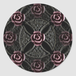 Gothic medieval iron cross with rose classic round sticker