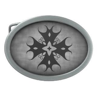 Gothic medival black cross on gray grunge oval belt buckles