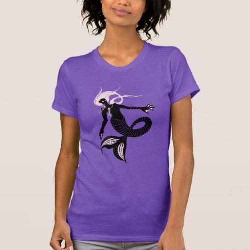 Gothic Mermaid With Fishbone Necklace Dark Art T_Shirt