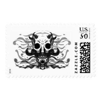 Gothic Metal Mustache Demon Skull Stamp