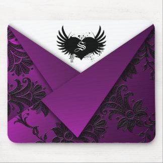 Gothic Monogram Purple and Black Baroque Mousepad