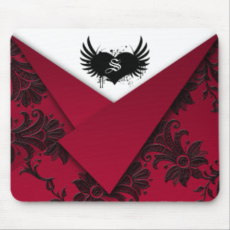 Gothic Monogram Red and Black Baroque Mousepad