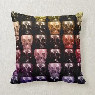 Gothic Multicolor Skulls Collage Halloween Decor Throw Pillow