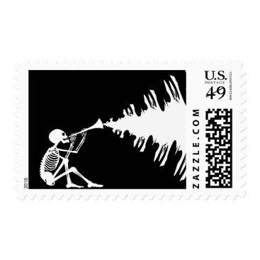 Halloween Themed Gothic Music Skeleton Flute Trumpet Stamp