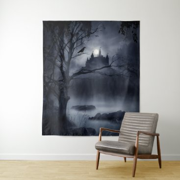 Halloween Themed Gothic Night Fantasy Large Wall Tapestry