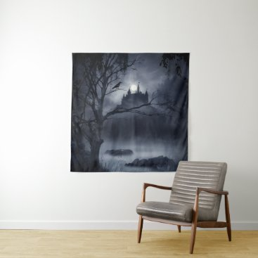 Halloween Themed Gothic Night Fantasy Square Wall Tapestry