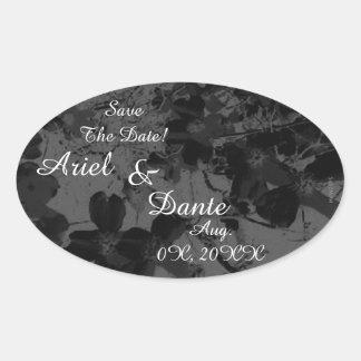 Gothic Nightfall Floral Wedding Handfasting Suite Oval Sticker