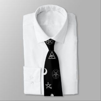 Gothic Occult Symbols Pattern Tie