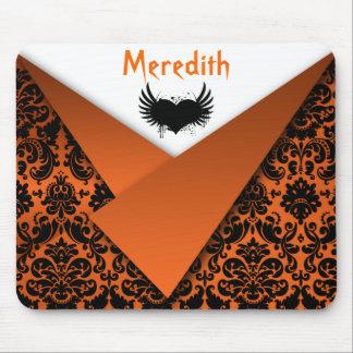 Gothic Orange and Black Damask Mousepad