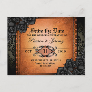 Gothic Orange & Black Halloween Save Date PostCard