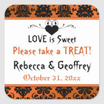 Gothic Orange, Black Scroll Heart Wedding Sticker