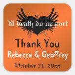 Gothic Orange, Black Winged Heart Wedding Sticker